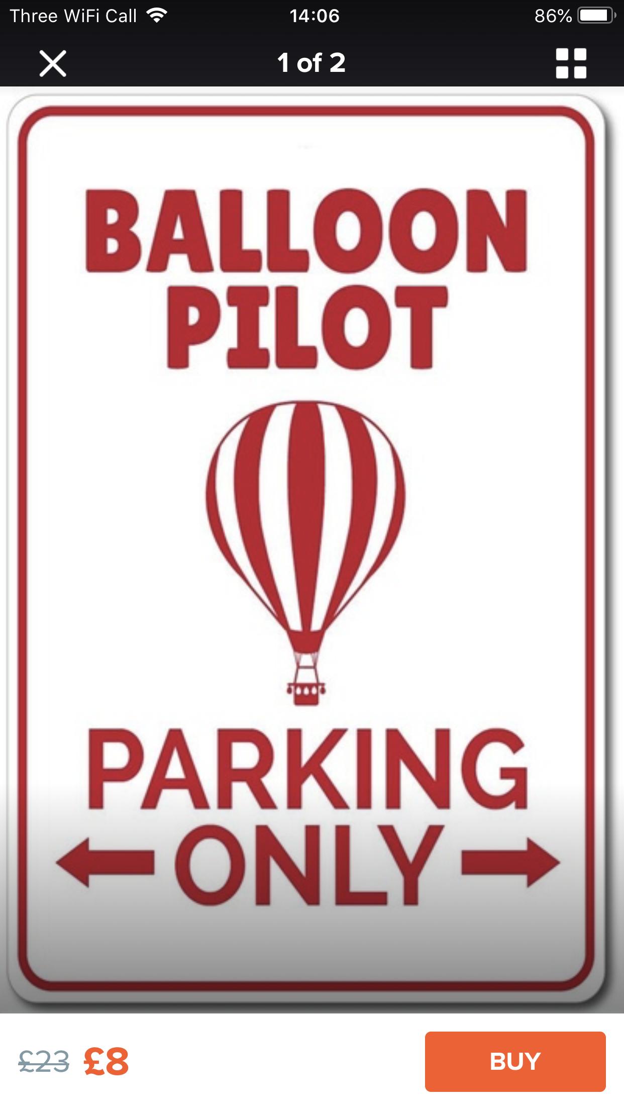 Balloon Pilot Parking Sign
