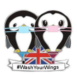 Puddles and Splash Wash Your Wings NHS Covid 19 support pin badge